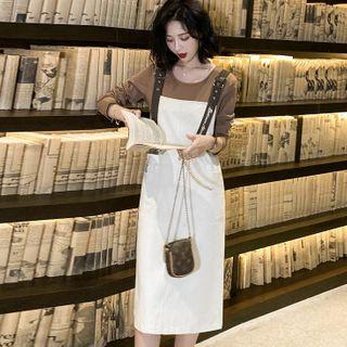 Romantica - 套装: 长袖纯色上衣 + 背带连衣中裙