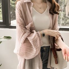 Kira Kira - Striped Balloon-Sleeve Chiffon Jacket