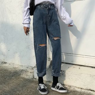 Laurinda - Distressed Cropped Straight-Cut Jeans