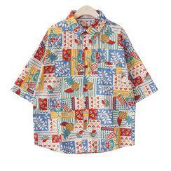 AGI - Elbow-Sleeve All Over Print Shirt