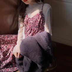 Amardeep - Floral Strappy Midi A-line Dress / Plain Cardigan