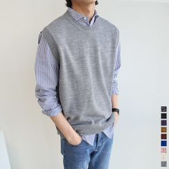 Seoul Homme - Sleeveless Rib-Knit Sweater in 9 Colors