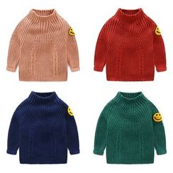 Seashells Kids - Kids Mock Neck Smiley Face Applique Sweater