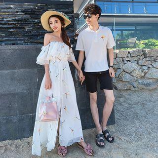 Bonne Nuit - Couple Matching Elbow-Sleeve A-Line Maxi Dress / Polo Shirt / Shorts