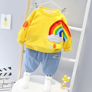 Mini Bae - Set: Kids Rainbow Print Pullover + Jeans