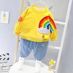 Mini Bae - 套裝: 小童彩虹印花套衫 + 牛仔褲