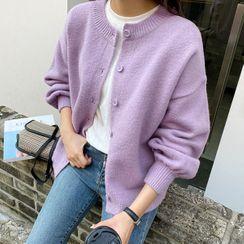 Seoul Fashion - Bishop-Sleeve Knit Cardigan