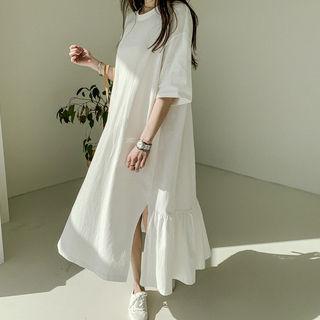 NANING9 - Ruffle-Hem Long T-Shirt Dress