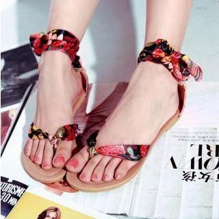 Pangmama - Printed Tie Flat Sandals