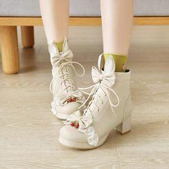 Freesia - Ribbon Chunky-Heel Lace-Up Short Boots