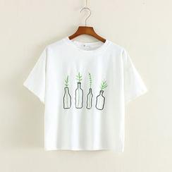 Mushi - Camiseta de manga corta con cuello redondo y bordado
