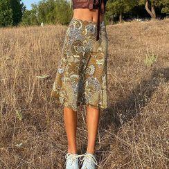 Sosana - High-Waist Floral Print Midi Skirt