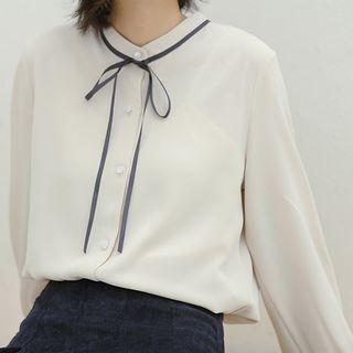 KIMOMIIN - Long-Sleeve Contrast Trim Chiffon Shirt