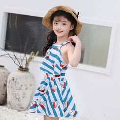 Atrov - Kids Cartoon Printed Striped Swimdress