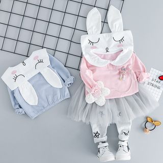 Mini Bae - Kids Set: Long-Sleeve Cartoon Rabbit Top + Mesh Paneled Leggings