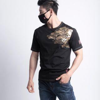 Green Banana - Wolf-Printed Stitched T-Shirt (Black)