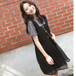 Alberlino - Set: Short-Sleeve T-Shirt + Sleeveless Striped Dress