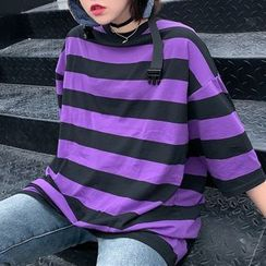 Magma - Elbow-Sleeve Striped T-Shirt
