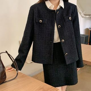 FROMBEGINNING - Tweed Button-Front Jacket