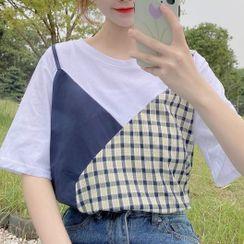 Shinsei - 短袖假兩件格子拼接T裇