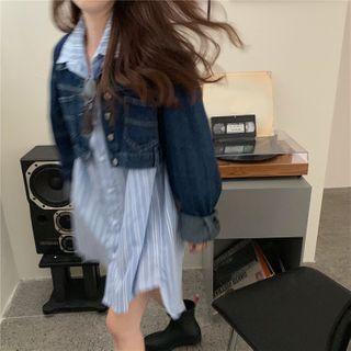 Windcatcher(ウィンドキャッチャー) - Denim Jacket / Striped Mini Shirt Dress