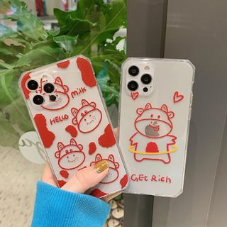 SIFFU - Milk Cow Print Transparent Phone Case - iPhone 12 Pro Max / 12 Pro / 12 / 12 mini / 11 Pro Max / 11 Pro / 11 / SE / XS Max / XS / XR / X / SE 2 / 8 / 8 Plus / 7 / 7 Plus