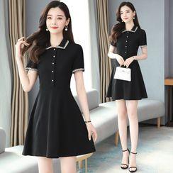 Kearen - Short-Sleeve Collar Mini A-Line Dress