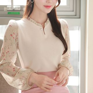 MyFiona - Faux-Pearl Frilled Floral-Panel Blouse