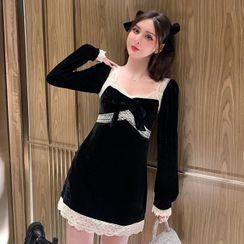 Paila - 长袖蕾丝边迷你A字连衣裙