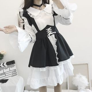 AKANYA - Long-Sleeve A-line Dress / Jumper Skirt / Headpiece