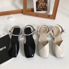 DURAC - Faux Pearl Ankle-Strap Flat Sandals