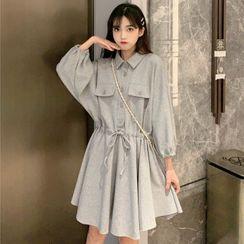Guajillo(グアジロ) - Long-Sleeve A-Line Shirtdress