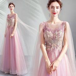 Caprice - Floral Applique A-Line Evening Gown