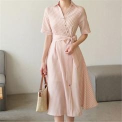 CHICLINE - A-Line Stripe Shirtdress with Sash