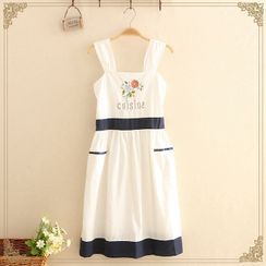 Kawaii Fairyland - Contrast-Trim Floral Embroidered Sleeveless Dress