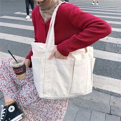 Milha - Canvas Pocket Accent Shoulder Tote Bag