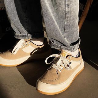 Lazi Boi - Two-Tone Panel Lace-Up Sneakers