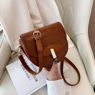 FAYLE - Plain Flap Saddle Crossbody Bag