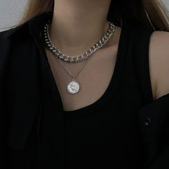 Henya - Coin Pendant Layered Alloy Necklace