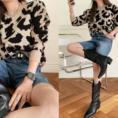 NANING9 - Round-Neck Leopard Knit Top
