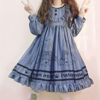 Tomoyo - Long-Sleeve Bear Printed A-Line Dress