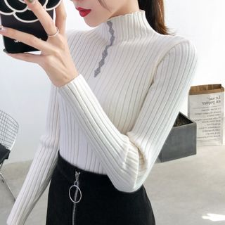 Norte - Mock-Turtleneck Rib Knit Top