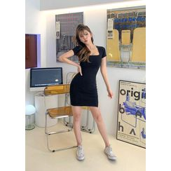 chuu - Square-Neck Bodycon Dress