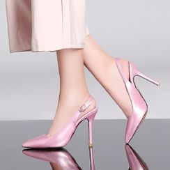 Freesia - Patent Stiletto Heel Slingback Pumps