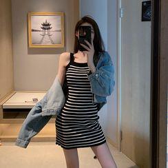 Hevnir - 细肩带针织迷你塑身连衣裙