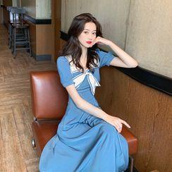 Flowerisque - Sailor Collar Elbow-Sleeve Midi A-Line Dress