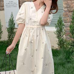 Gypso - Maternity Puff-Sleeve Midi A-Line Dress