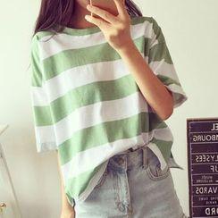 CRIBI - Striped Crewneck T-Shirt