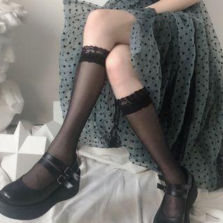 Lace Trim Knee-High Socks