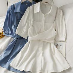 Lemongrass - Chain-Accent Mock Two-Piece Midi Dress